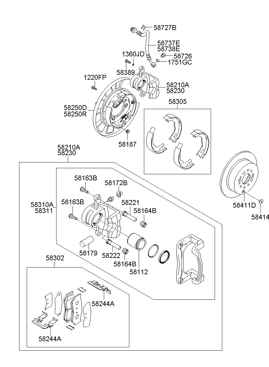 2008 Hyundai Santa Fe Brake Assembly