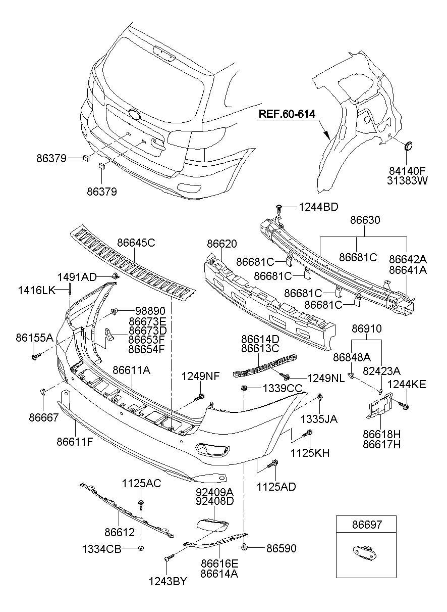 Hyundai Santa Fe Cover Rear   Rear  Rr    Bumper Lower