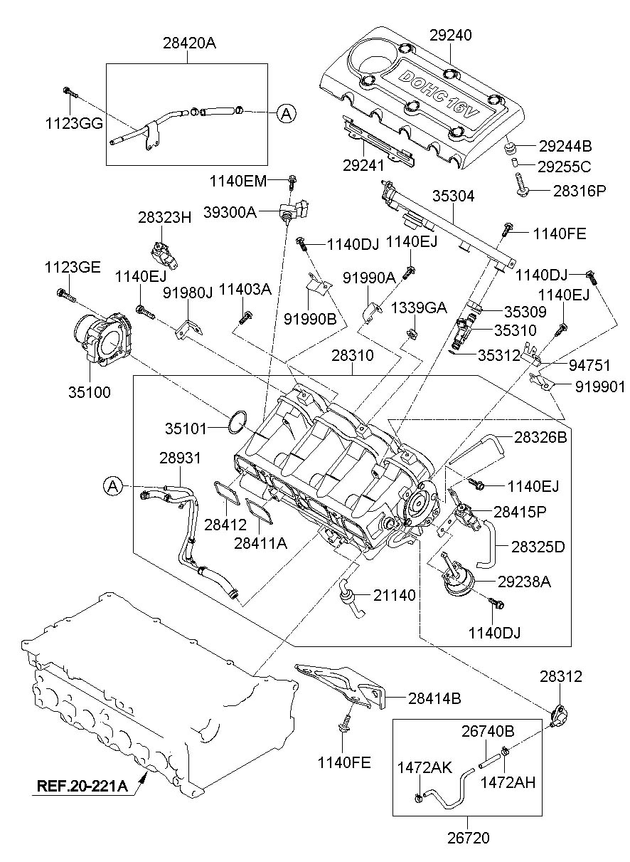 283102g071 - Hyundai Manifold Assembly