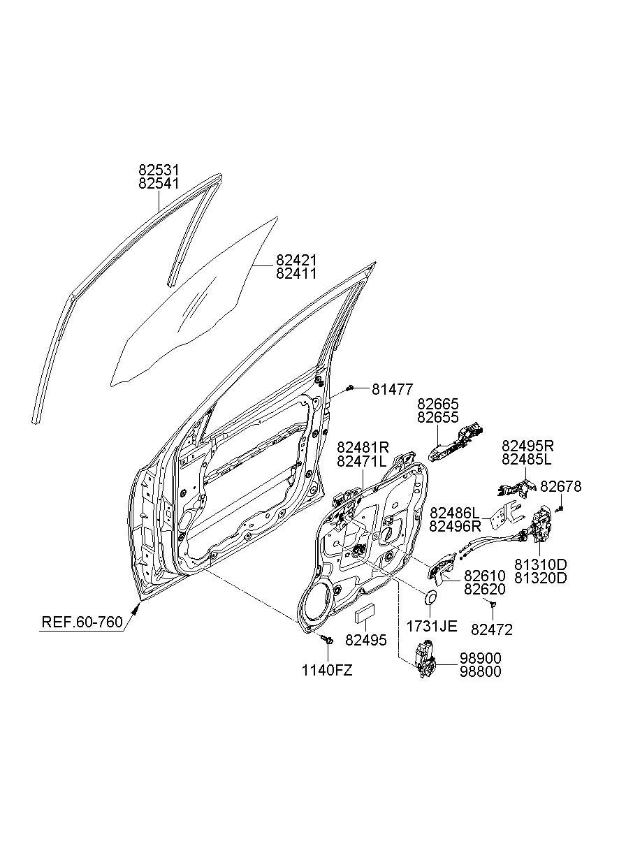 813100w000 - Hyundai Latch  U0026 Actuator Assembly