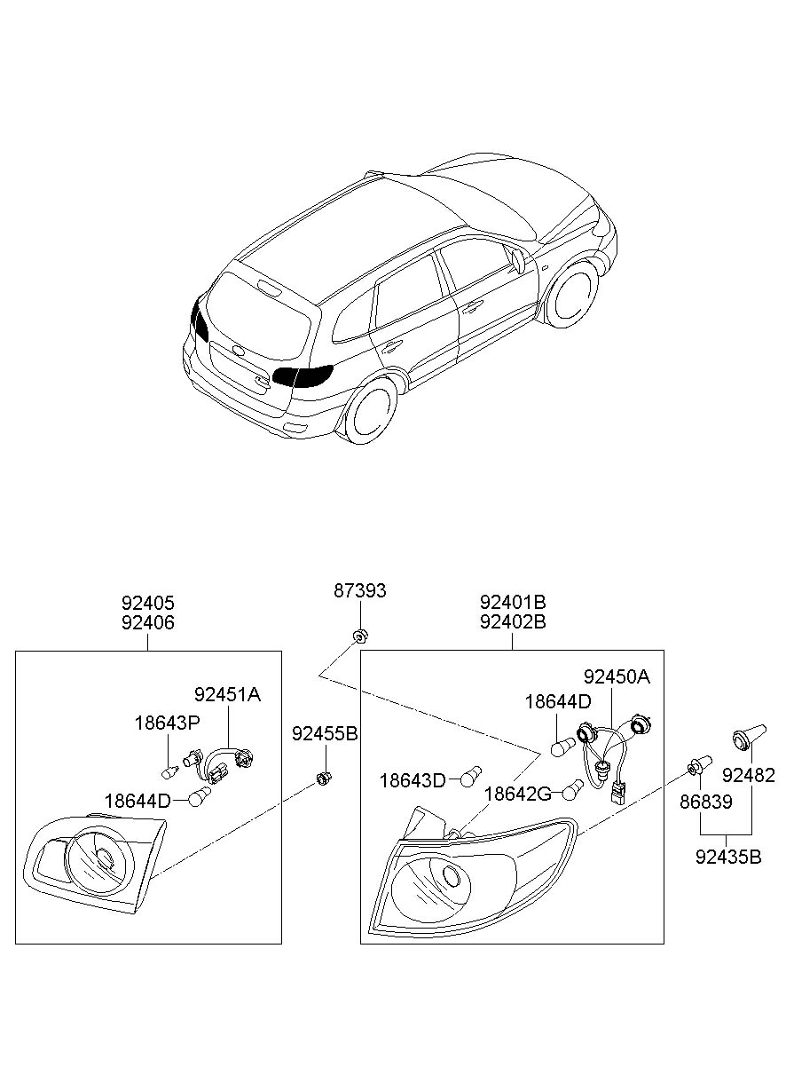 2011 Hyundai Santa Fe Lamp Assembly Rear   Rear  Rr    Combination Outside Left   Left Hand