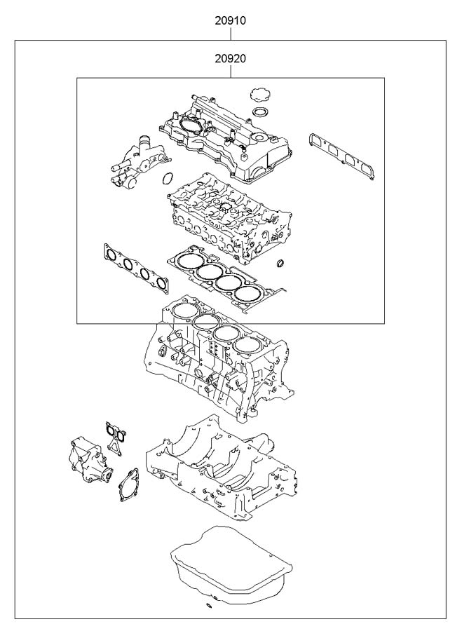 209102GO00A - Hyundai Engine Gasket Set. GASKET. ENGINE ...