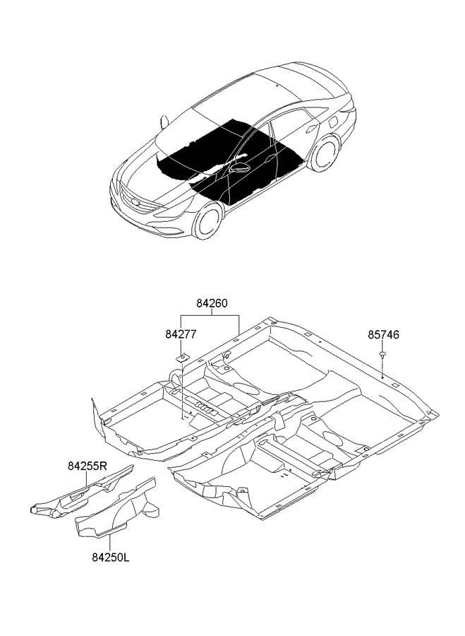 2011 Hyundai Sonata Hook - Car Mat  Pile  Carpetstd