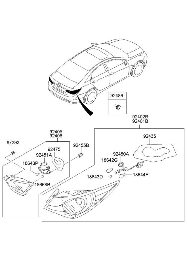2013 Hyundai Sonata Back Up Light Socket  Holder And