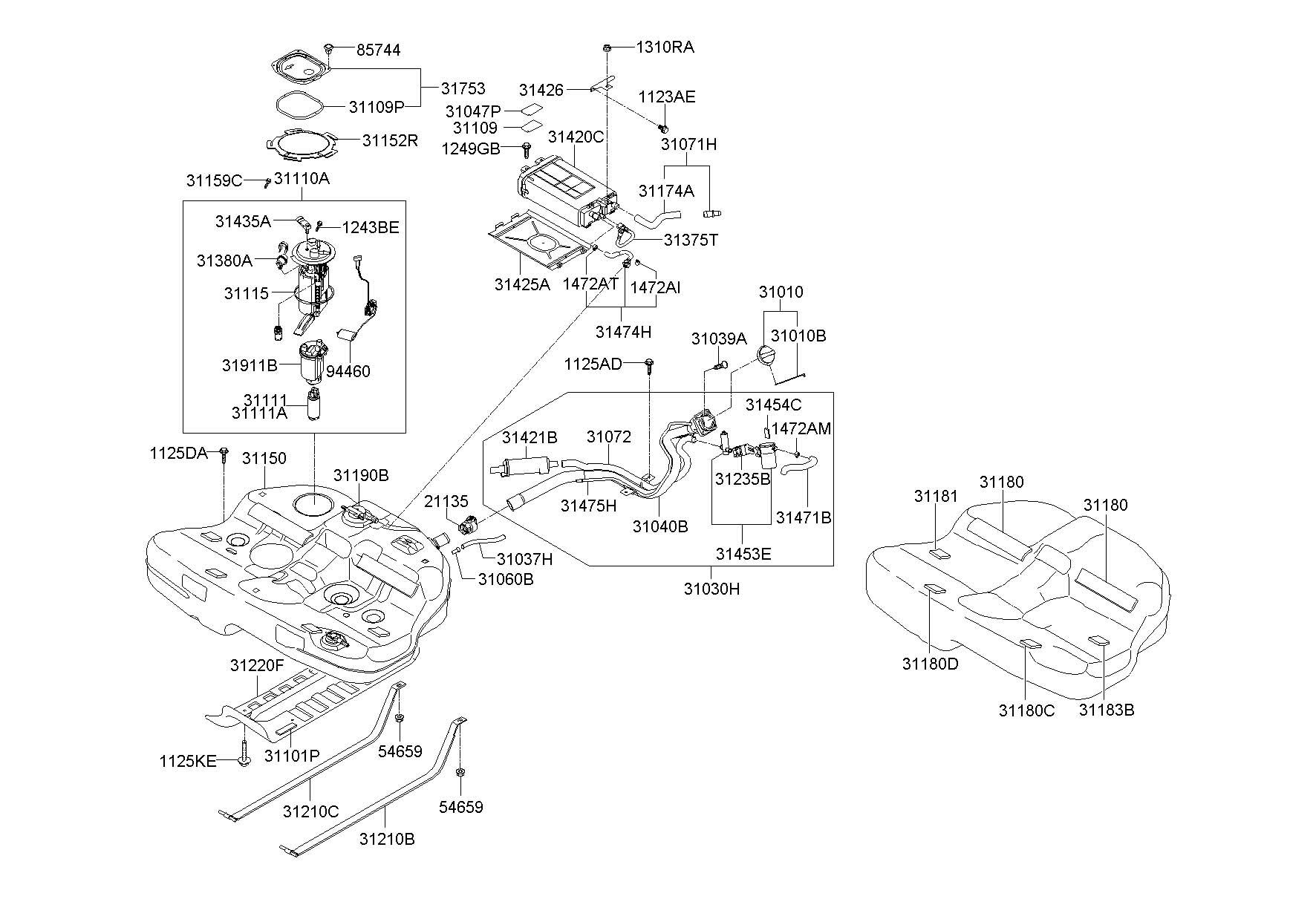 2010 Hyundai Sonata Canister Assembly 314203k600