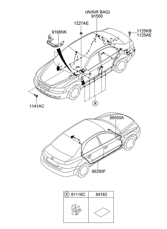 2008 hyundai sonata clip - wiring  intermittentnon  harnessfloor  entrypanic
