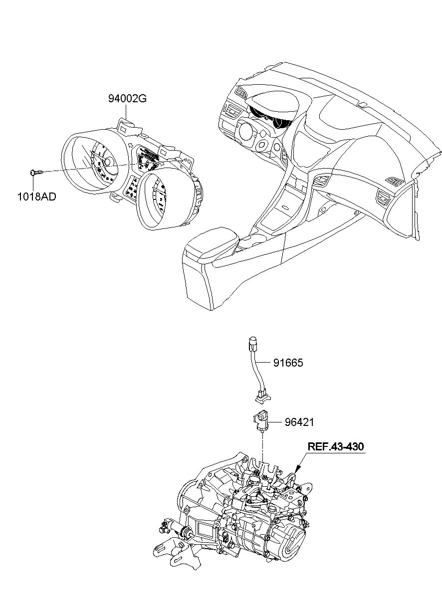 940013y000 - hyundai cluster assembly