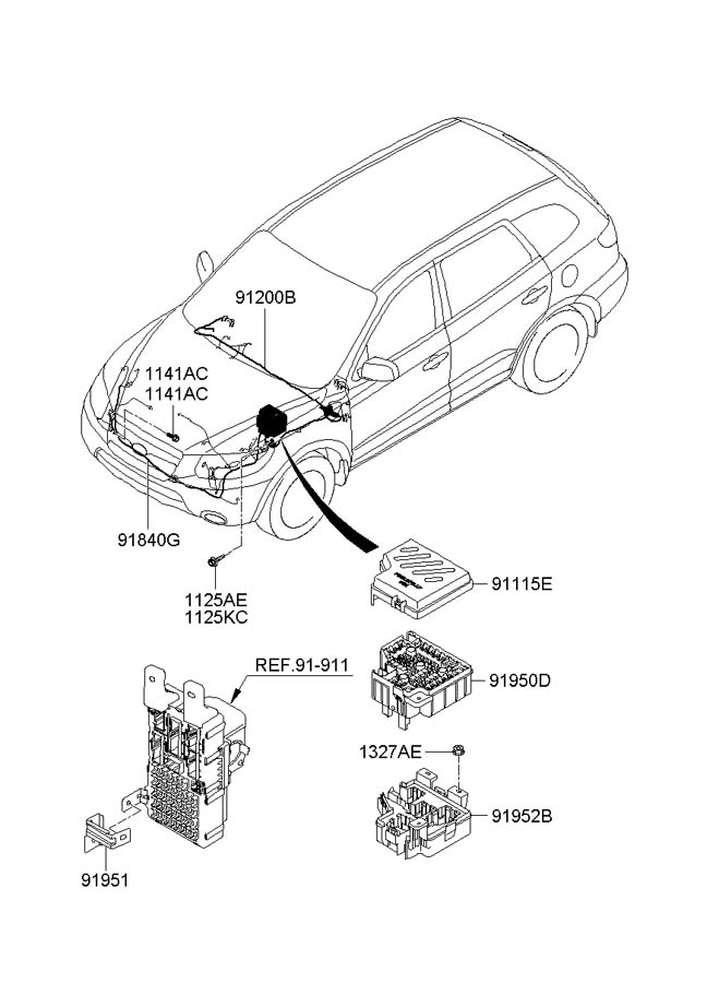 911152b020 - Hyundai Upper Cover  R Junction Box