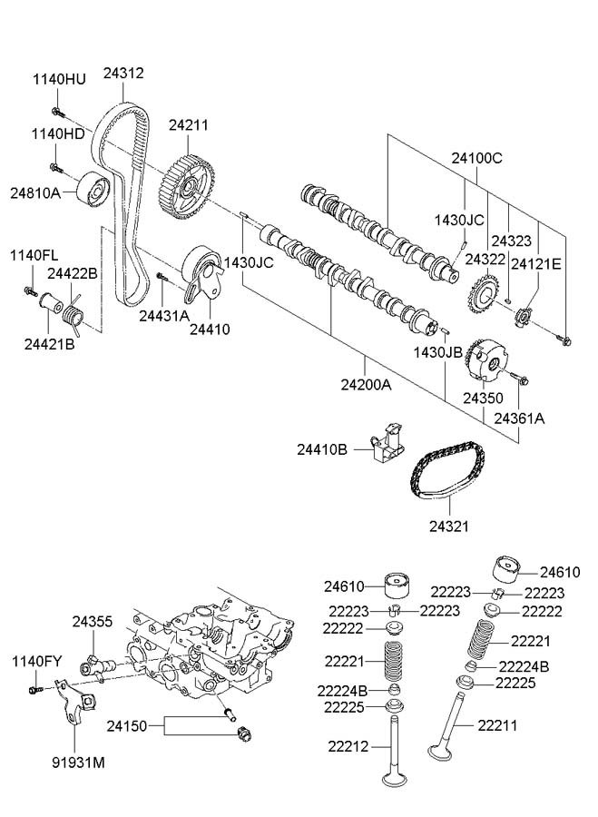 Hyundai Accent Belt - valve timing - 2431226050 ...
