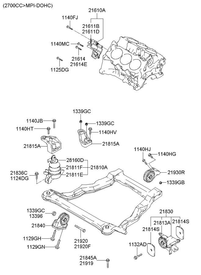 2005 Hyundai Santa Fe Bolt  Mount  Engine  Front  Motor