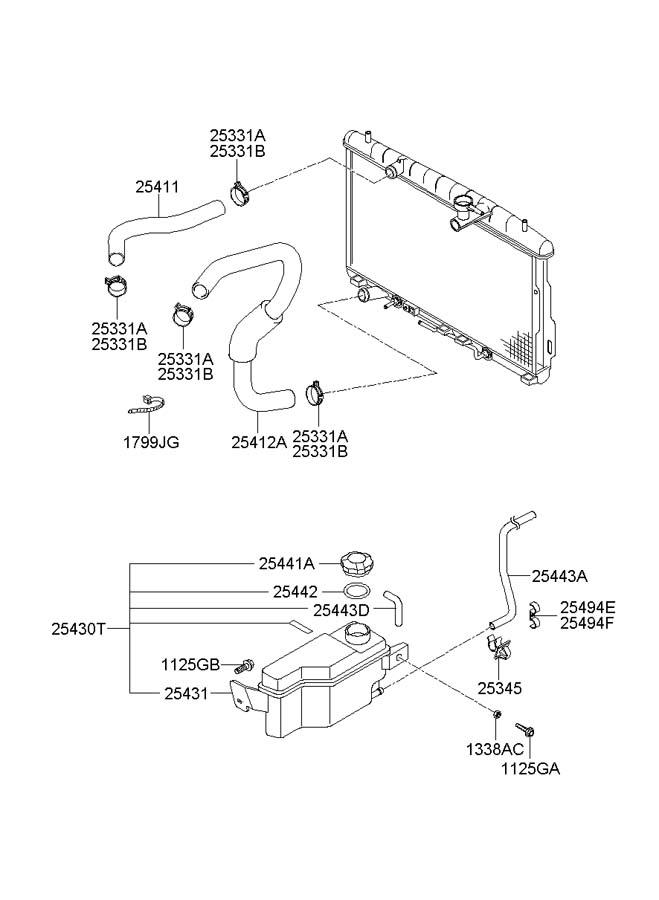 service manual  2005 hyundai santa fe lower radiator hose