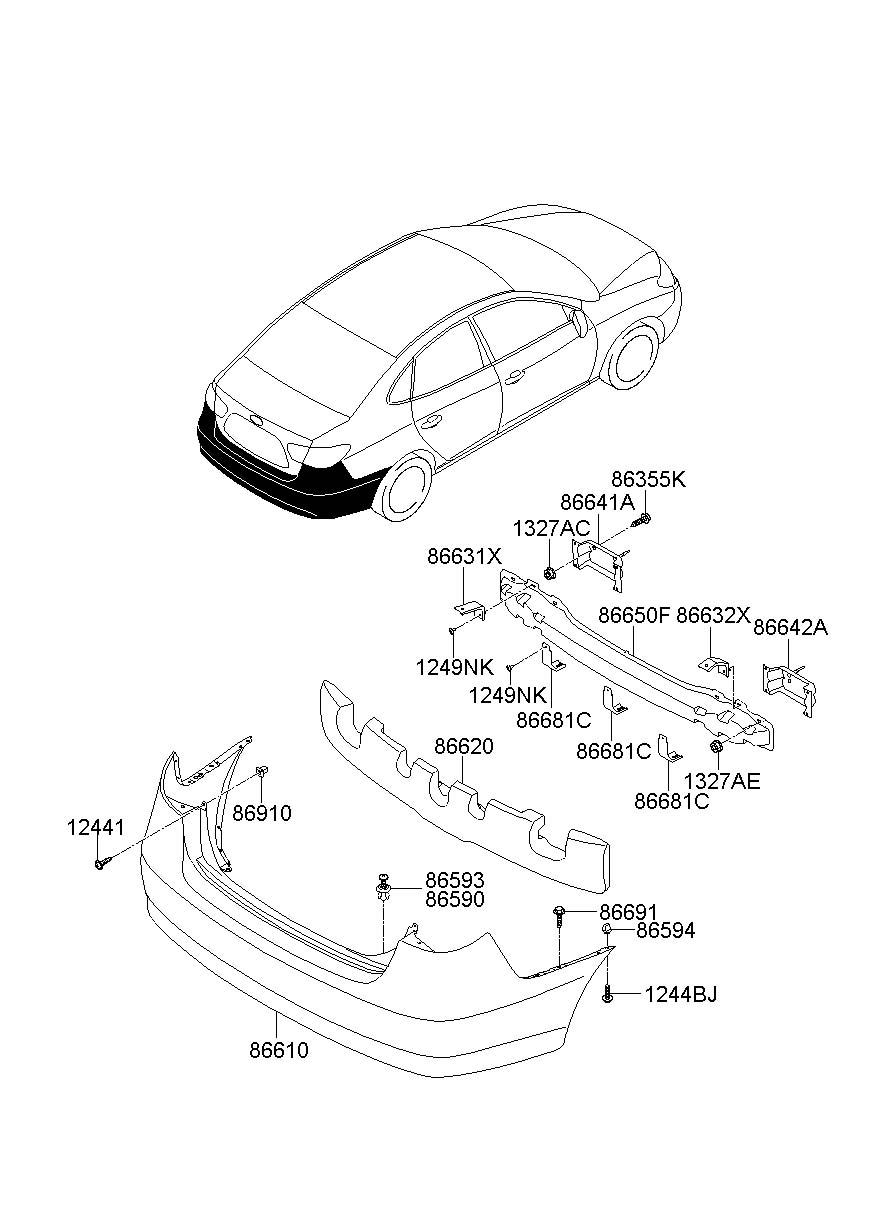 Hyundai       Elantra    Cover    rear         rear     rr       bumper