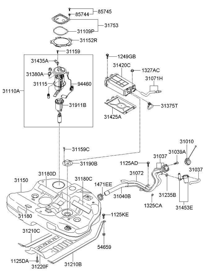 Hyundai Sonata Filter  U0026 Canister Valve Assembly