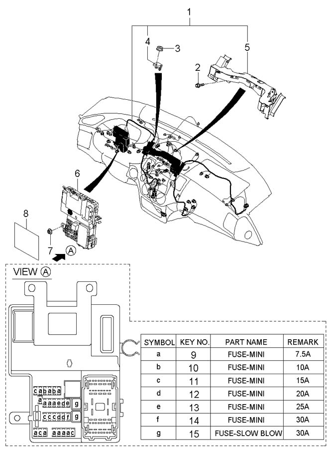 2007 Hyundai Entourage Label - Instrument Panel Module