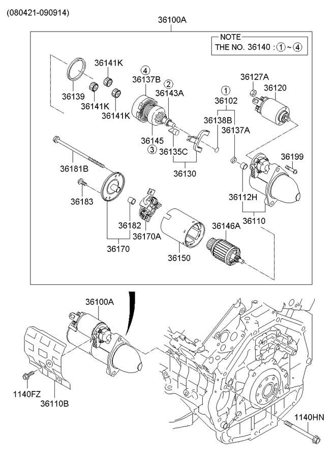 361003c211 hyundai starter assembly starter motor from. Black Bedroom Furniture Sets. Home Design Ideas