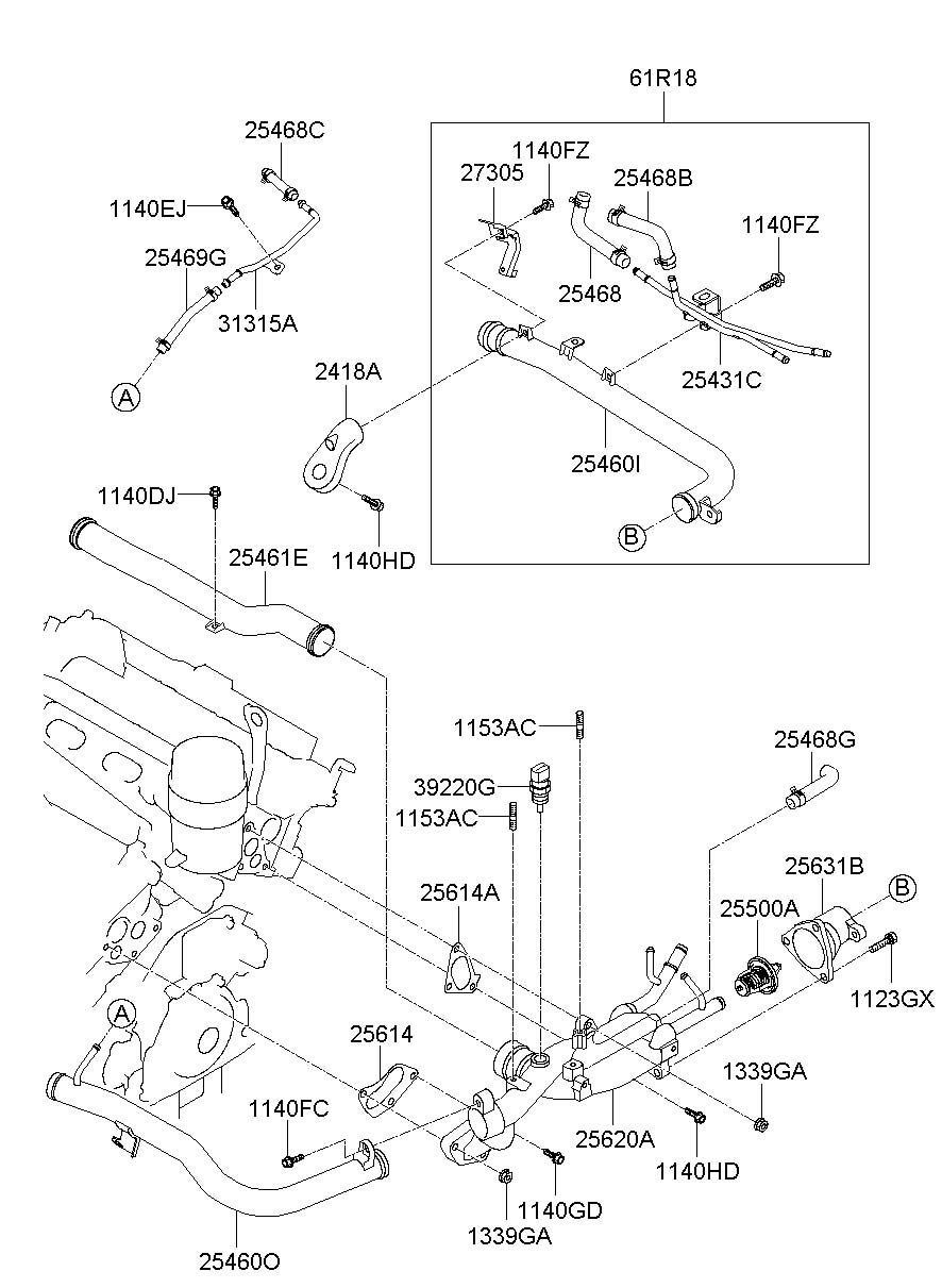 2013 Hyundai Genesis Coupe Housing Assembly - Thermostat  3 8 Liter  Genesis Coupe