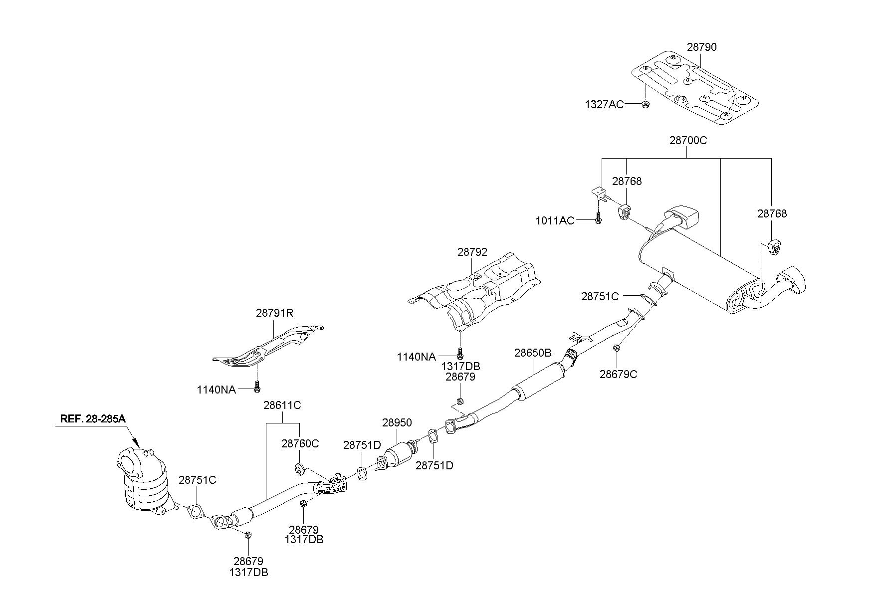 287613K000 - Hyundai Muffler AND pipe hanger. Included ...