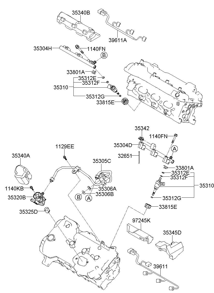 2014 Hyundai Azera Fuel injector. Injector assembly - fuel ...