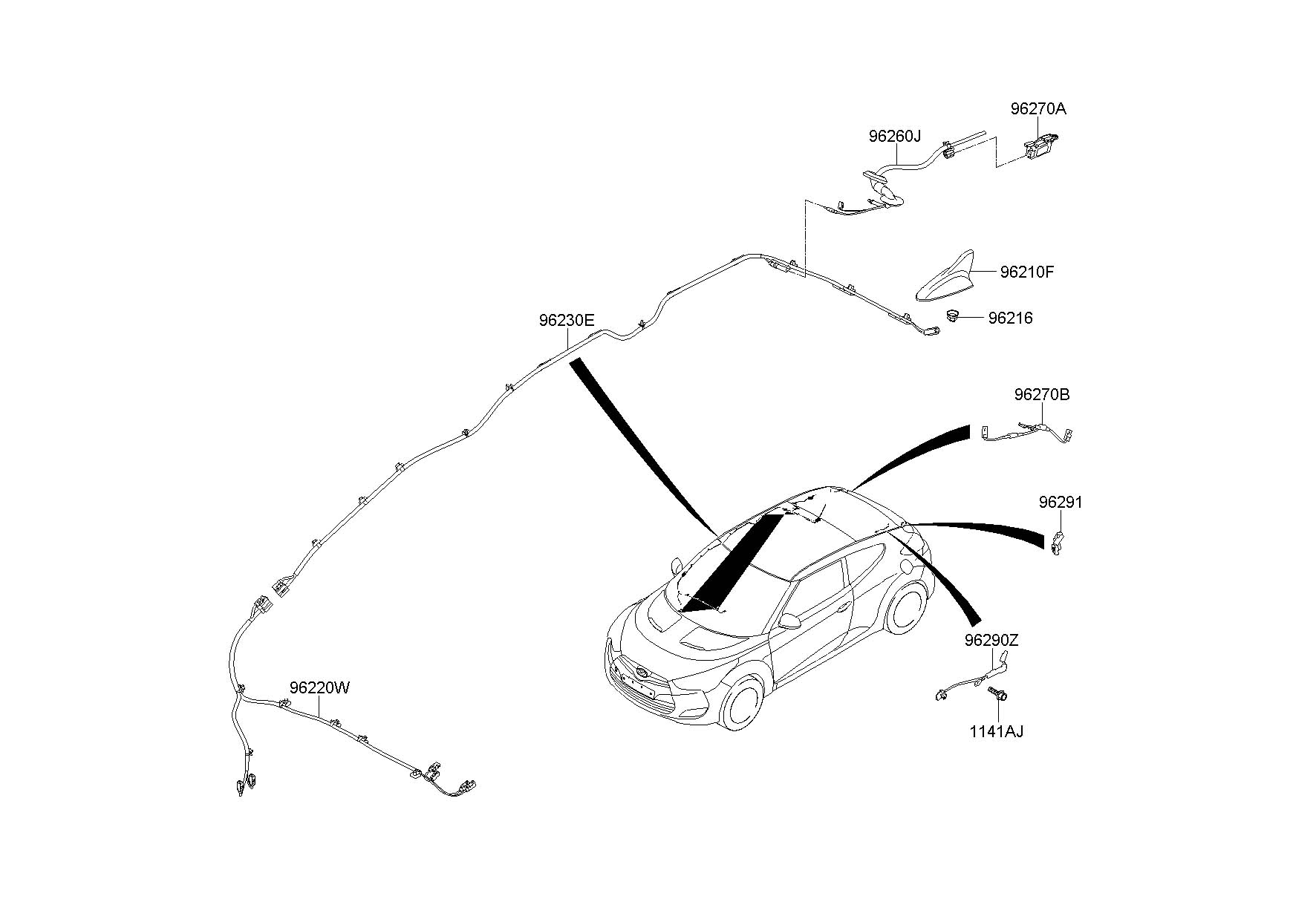 2013 Hyundai Veloster Antenna Assembly - Roof