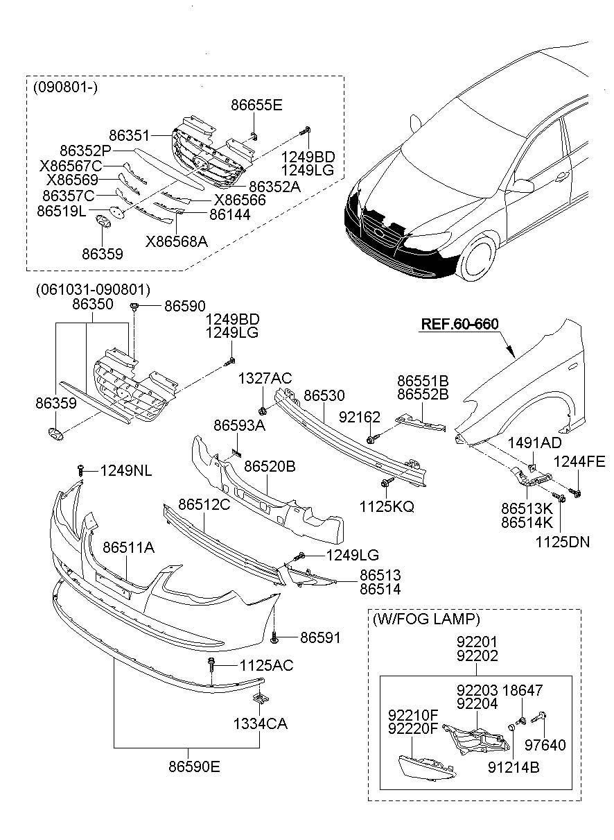 hyundai elantra front bumper diagram