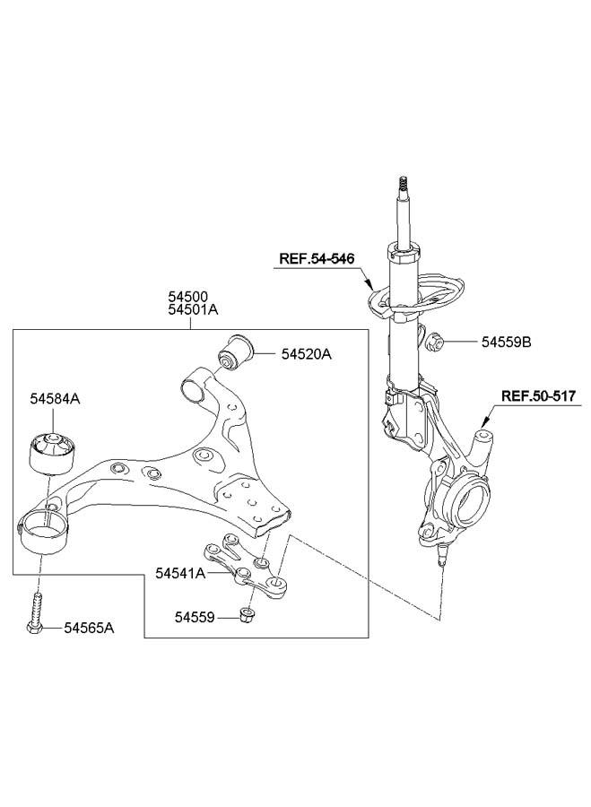 hyundai tucson control arm diagram