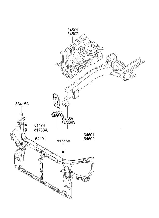 2006 hyundai sonata radiator support diagram