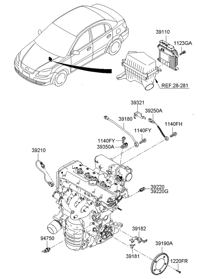 2008 Hyundai Accent Sensor assembly - oxygen (o2 ...