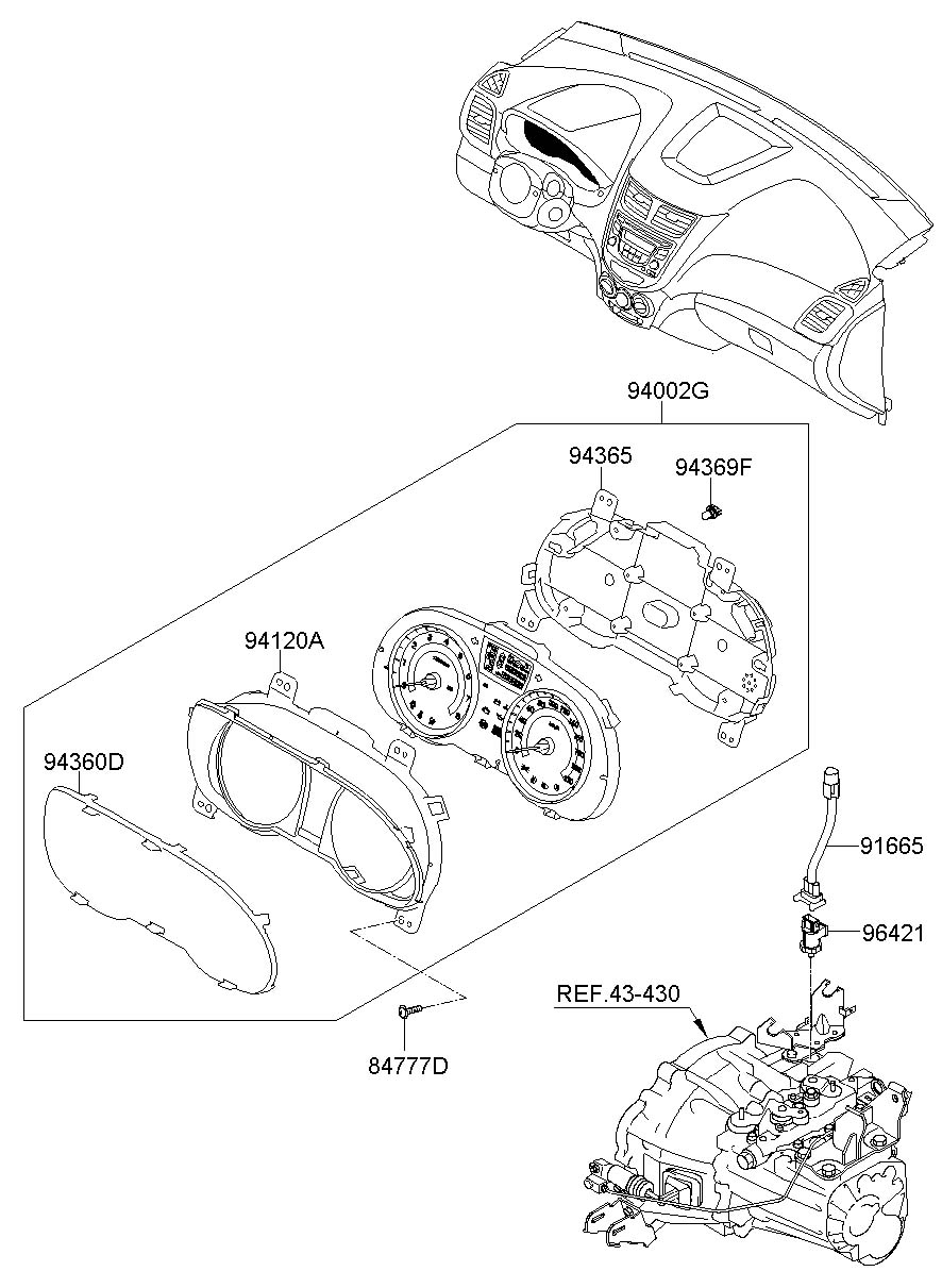 940011r030 - hyundai cluster assembly