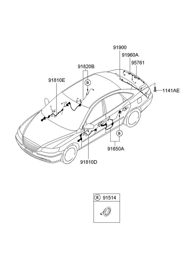 2008 Hyundai Azera Wiring Assembly - Front Door   Passenger