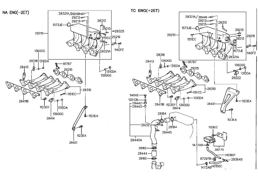 1994 Hyundai Scoupe Manifold Assembly