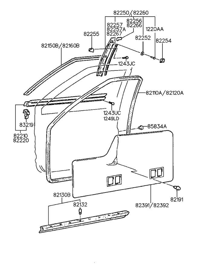 1994 Hyundai Scoupe Clip - Door Frame Garnish