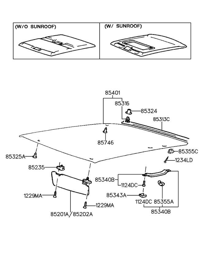 1999 Hyundai Elantra Retainer - Sunvisor
